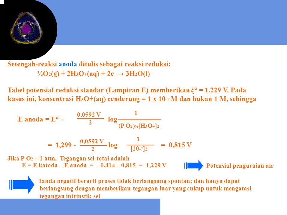= 1,299 - log Setengah-reaksi anoda ditulis sebagai reaksi reduksi: ½O 2 (g) + 2H 3 O + (aq) + 2e - → 3H 2 O(l) Tabel potensial reduksi standar (Lampi