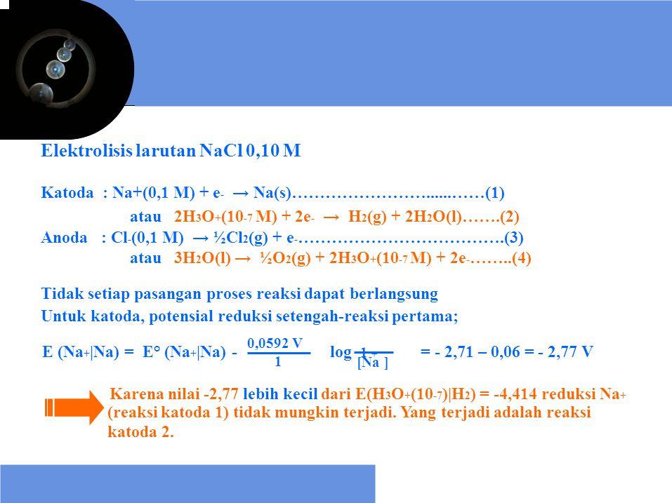 E (Na +  Na) = E° (Na +  Na) - log 1 + Elektrolisis larutan NaCl 0,10 M Katoda : Na+(0,1 M) + e - → Na(s)……………………......……(1) atau 2H 3 O + (10 -7 M) +