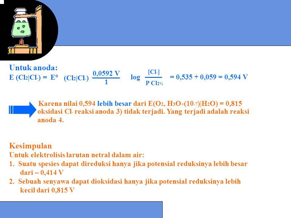 - Untuk anoda: E (Cl 2 |Cl - ) = E° (Cl 2 |Cl - ) log= 0,535 + 0,059 = 0,594 V Karena nilai 0,594 lebih besar dari E(O 2, H 3 O + (10 -7 )|H 2 O) = 0,