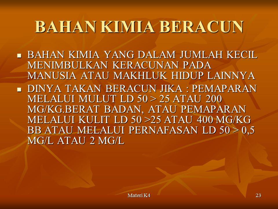 Materi K423 BAHAN KIMIA BERACUN BAHAN KIMIA YANG DALAM JUMLAH KECIL MENIMBULKAN KERACUNAN PADA MANUSIA ATAU MAKHLUK HIDUP LAINNYA BAHAN KIMIA YANG DAL