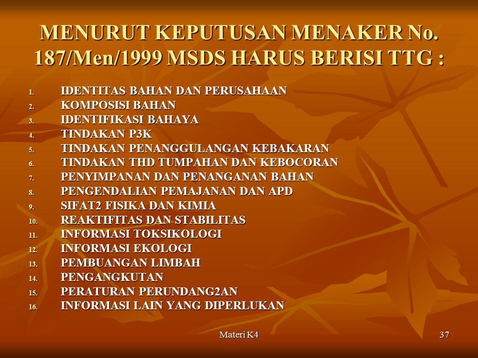 Materi K437 MENURUT KEPUTUSAN MENAKER No. 187/Men/1999 MSDS HARUS BERISI TTG : 1. IDENTITAS BAHAN DAN PERUSAHAAN 2. KOMPOSISI BAHAN 3. IDENTIFIKASI BA