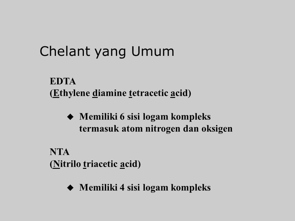 Chelants u Melarutkan ion logam u Membentuk senyawa kompleks yang sangat larut u Ion-ion bersaing (PO 4, SiO 2, OH) mengurangi efetivitas