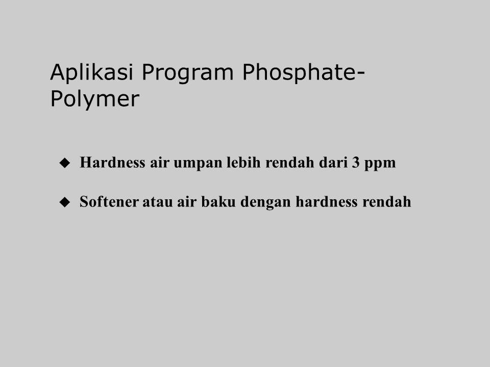Program Phosphate-Polymer Mempresipitasikan hardness dan besi Polymer mendispersikan sludge hasil reaksi, untuk menghindari pengendapan pada pipa Boil