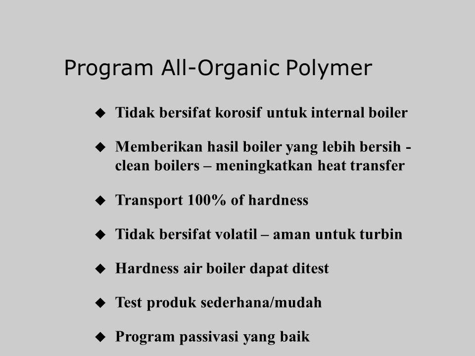 Program All-Organic Polymer u Diinjeksikan ke tangki deaerator untuk boiler bertekanan < 600 psig dan menggunakan air softener u Program/dosis injeksi