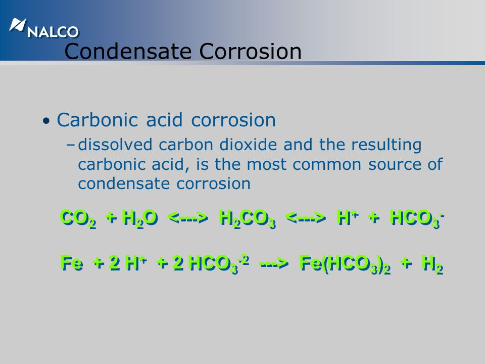 Primary Causes of Condensate Corrosion Carbon dioxide Oxygen Ammonia