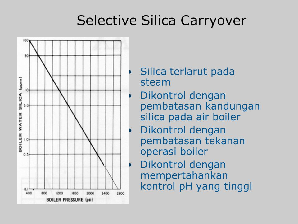 Silica u Membentuk deposit pada boiler/waterside Terbentuk sebagai magnesium silicate atau silicic acid u Selective silica carryover Tidak dapat dikon