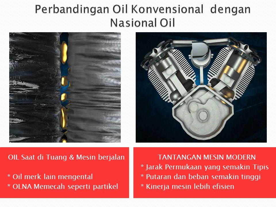 OIL Saat di Tuang & Mesin berjalan * Oil merk lain mengental * OLNA Memecah seperti partikel TANTANGAN MESIN MODERN * Jarak Permukaan yang semakin Tip
