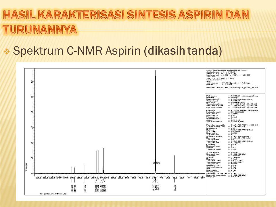  Spektrum C-NMR Aspirin (dikasih tanda)