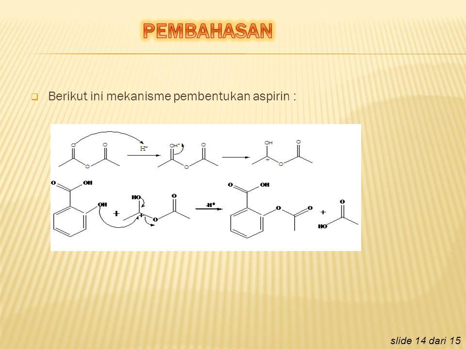  Berikut ini mekanisme pembentukan aspirin : slide 14 dari 15