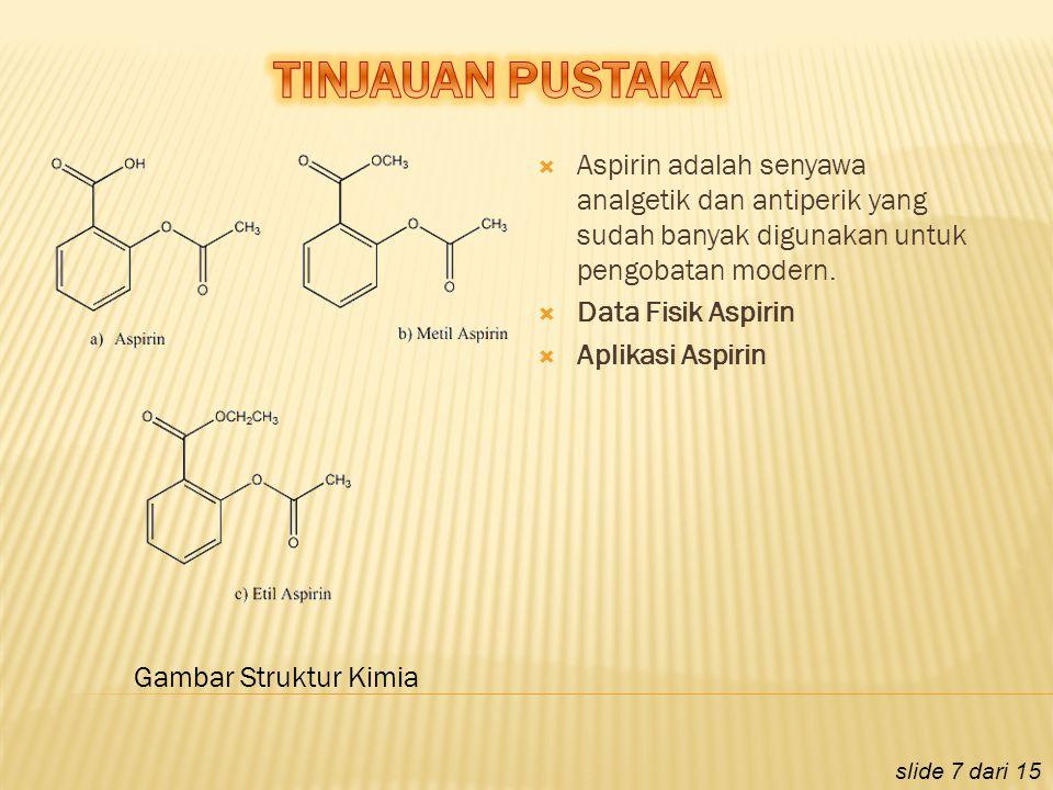  Aspirin adalah senyawa analgetik dan antiperik yang sudah banyak digunakan untuk pengobatan modern.  Data Fisik Aspirin  Aplikasi Aspirin slide 7