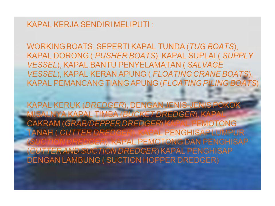 KAPAL KERJA SENDIRI MELIPUTI : WORKING BOATS, SEPERTI KAPAL TUNDA (TUG BOATS), KAPAL DORONG ( PUSHER BOATS), KAPAL SUPLAI ( SUPPLY VESSEL), KAPAL BANT
