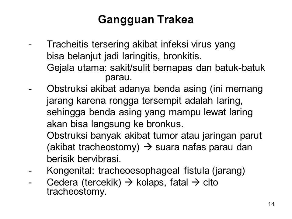 14 Gangguan Trakea -Tracheitis tersering akibat infeksi virus yang bisa belanjut jadi laringitis, bronkitis. Gejala utama: sakit/sulit bernapas dan ba