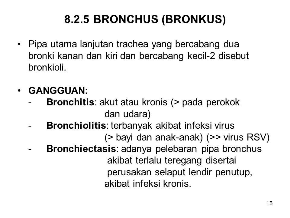 15 8.2.5BRONCHUS (BRONKUS) Pipa utama lanjutan trachea yang bercabang dua bronki kanan dan kiri dan bercabang kecil-2 disebut bronkioli. GANGGUAN: -Br