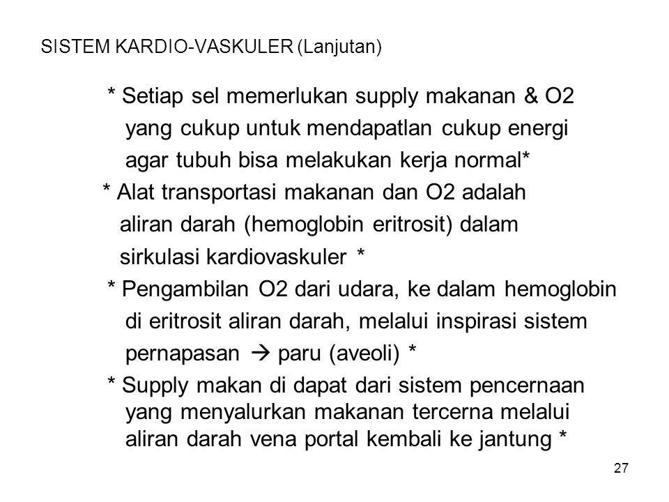 27 SISTEM KARDIO-VASKULER (Lanjutan) * Setiap sel memerlukan supply makanan & O2 yang cukup untuk mendapatlan cukup energi agar tubuh bisa melakukan k