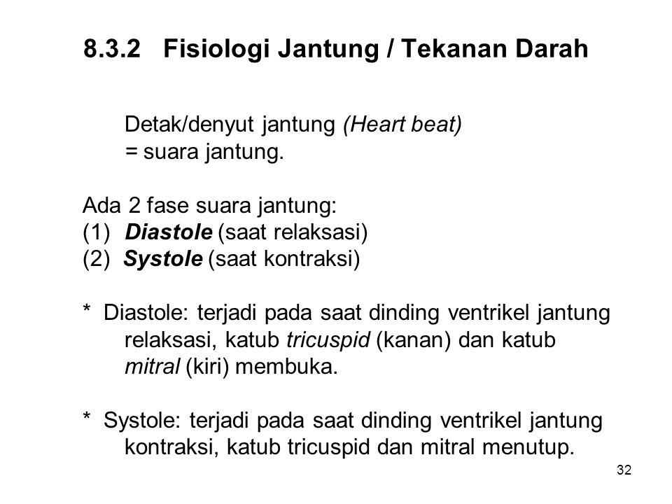 32 8.3.2 Fisiologi Jantung / Tekanan Darah Detak/denyut jantung (Heart beat) = suara jantung. Ada 2 fase suara jantung: (1)Diastole (saat relaksasi) (