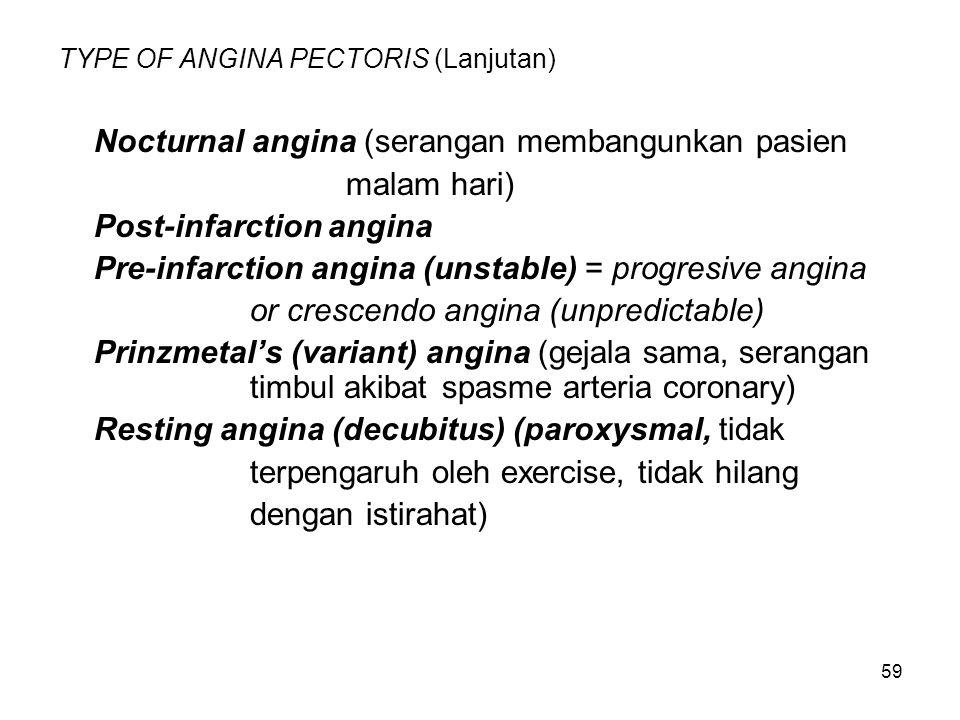 59 TYPE OF ANGINA PECTORIS (Lanjutan) Nocturnal angina (serangan membangunkan pasien malam hari) Post-infarction angina Pre-infarction angina (unstabl