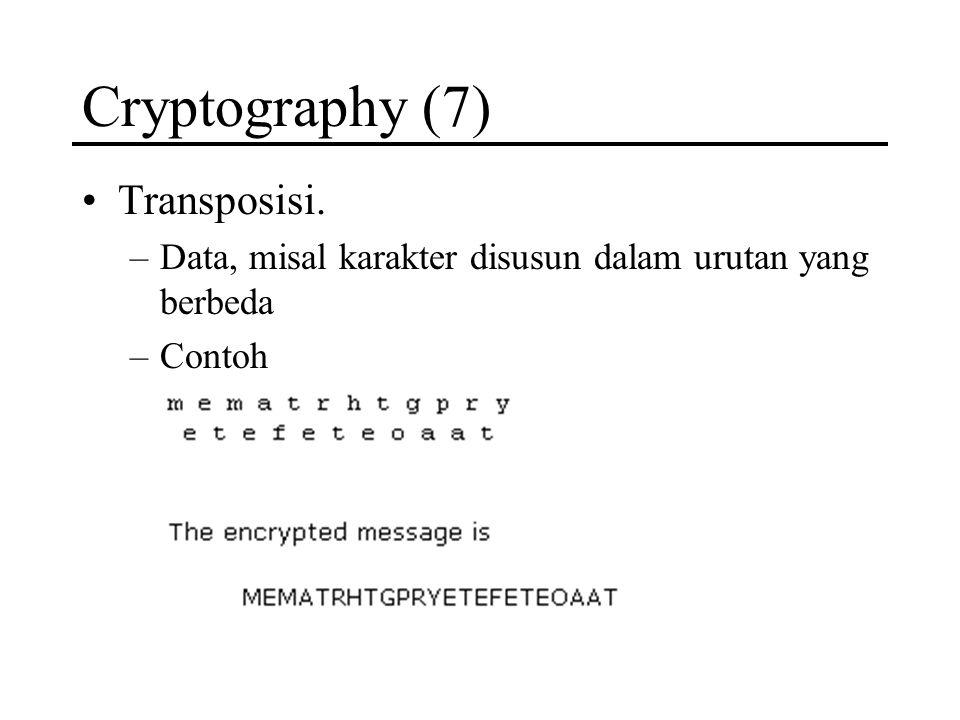 Cryptography (7) Transposisi. –Data, misal karakter disusun dalam urutan yang berbeda –Contoh