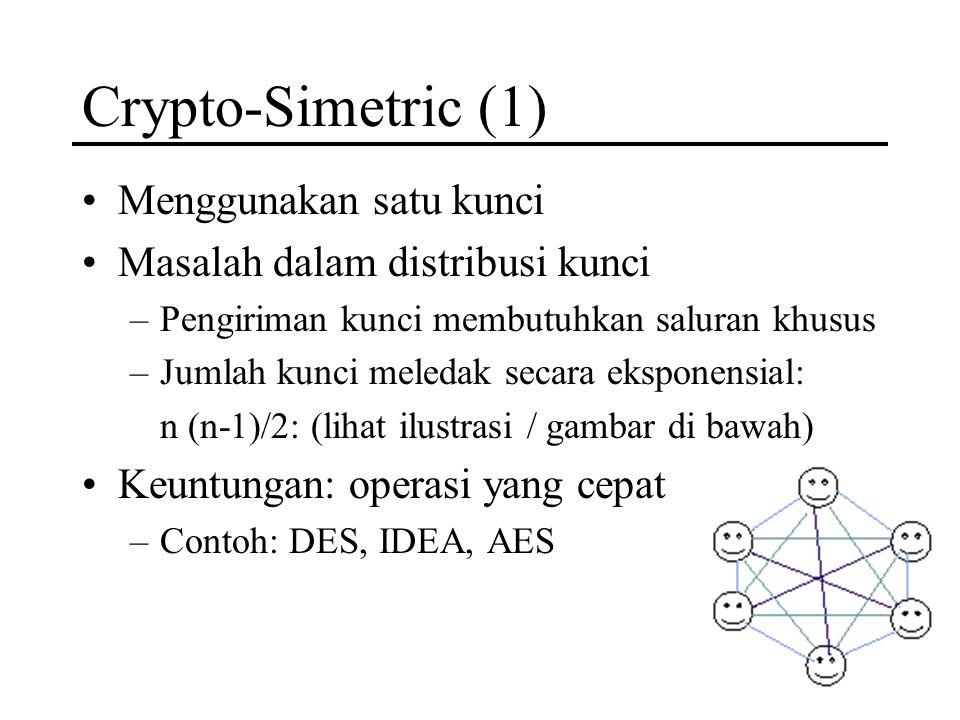Crypto-Simetric (1) Menggunakan satu kunci Masalah dalam distribusi kunci –Pengiriman kunci membutuhkan saluran khusus –Jumlah kunci meledak secara ek