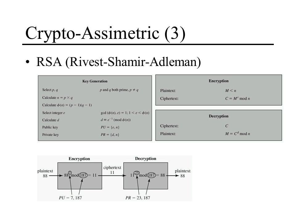 Crypto-Assimetric (3) RSA (Rivest-Shamir-Adleman)