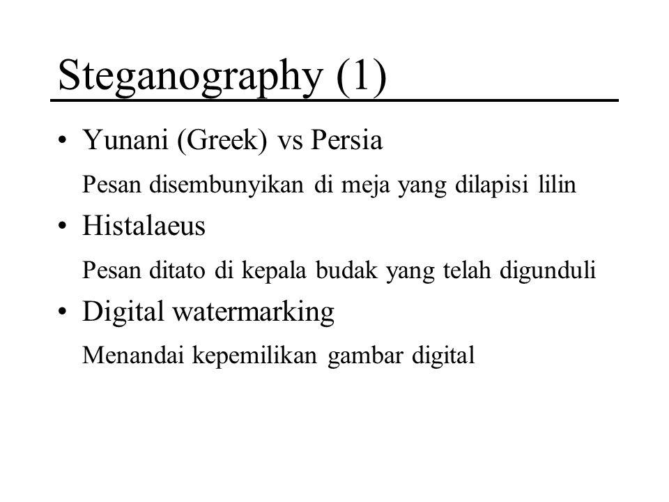 Steganography (1) Yunani (Greek) vs Persia Pesan disembunyikan di meja yang dilapisi lilin Histalaeus Pesan ditato di kepala budak yang telah digundul