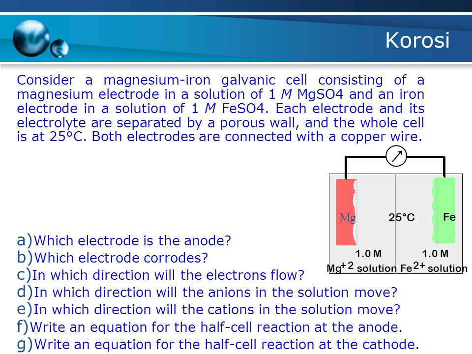 Korosi Consider a magnesium-iron galvanic cell consisting of a magnesium electrode in a solution of 1 M MgSO4 and an iron electrode in a solution of 1