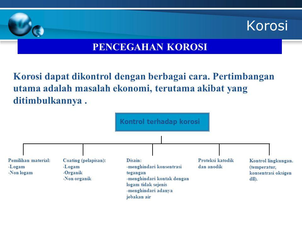Korosi Kontrol terhadap korosi PENCEGAHAN KOROSI Korosi dapat dikontrol dengan berbagai cara.