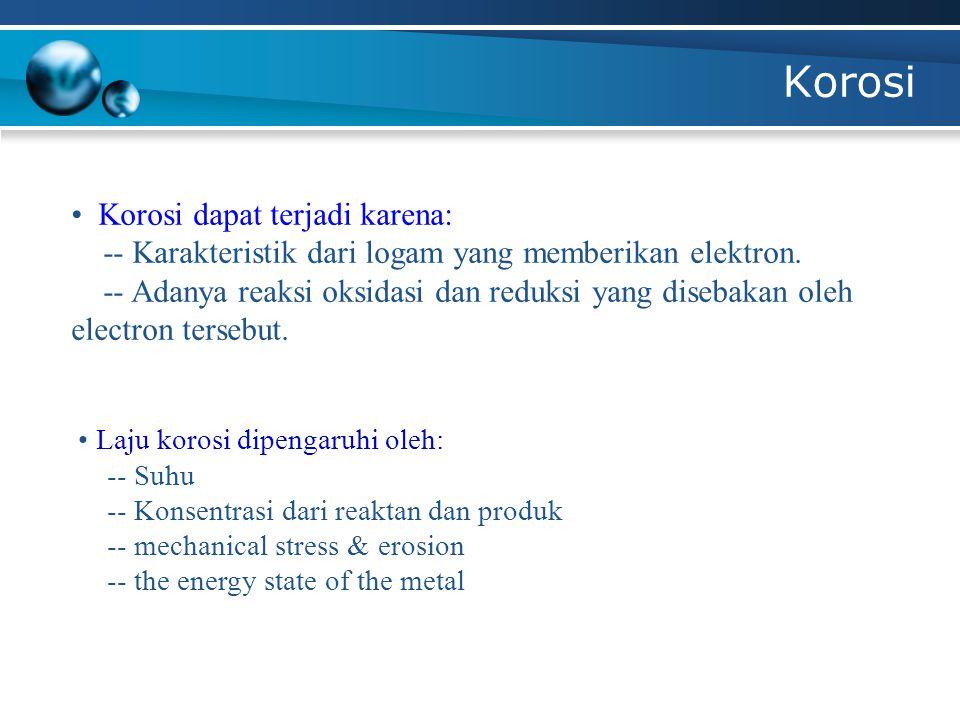 Korosi Tipe – tipe korosi: 1)Uniform or general attack corrosion 2)Galvanic or two-metal corrosion 3)Pitting corrosion 4)Crevice corrosion 5)Intergranular corrosion 6)Stress corrosion 7)Erosion corrosion 8)Selective leaching or dealloying