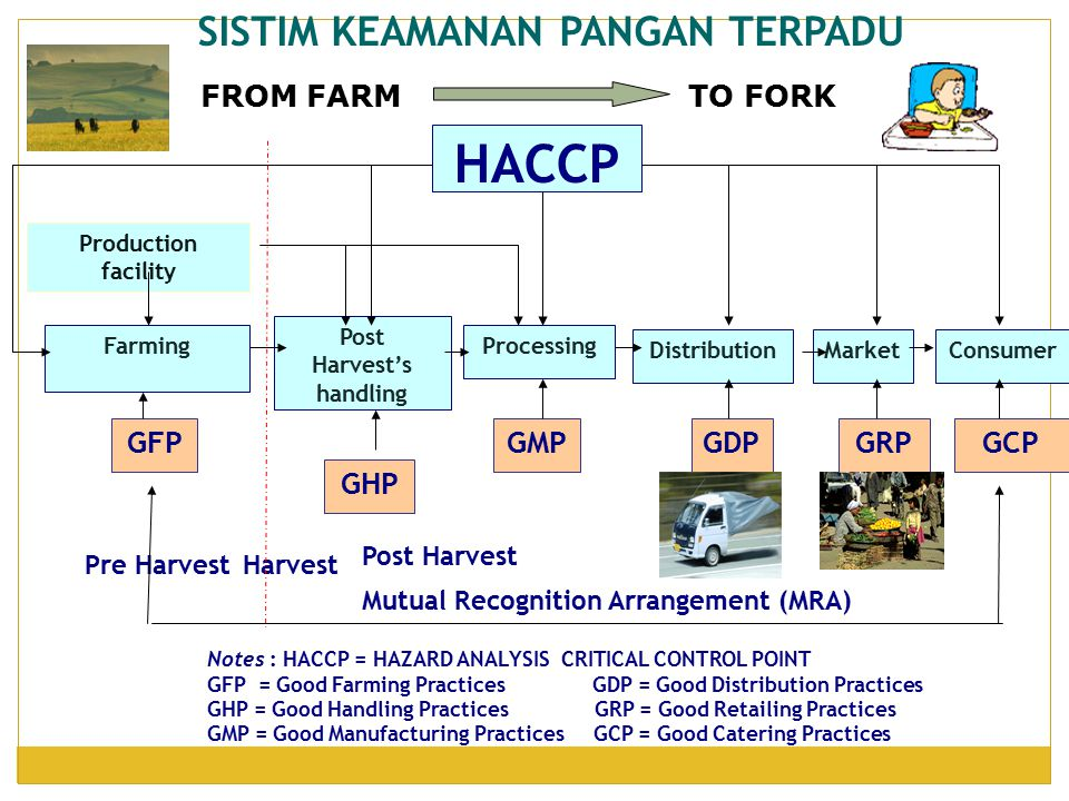 SISTIM KEAMANAN PANGAN TERPADU Notes : HACCP = HAZARD ANALYSIS CRITICAL CONTROL POINT GFP = Good Farming Practices GDP = Good Distribution Practices G