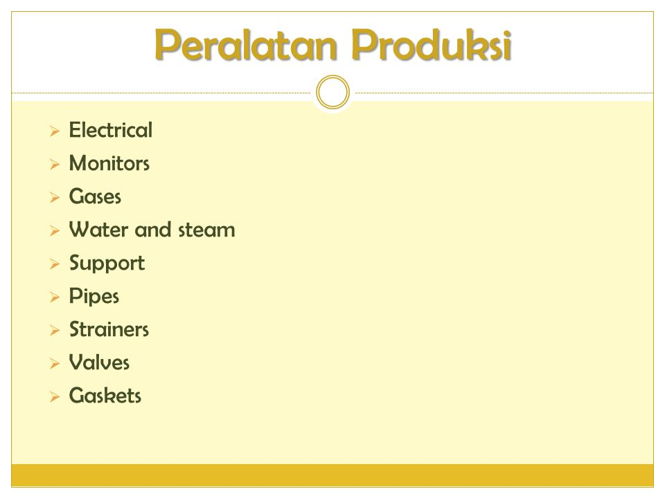 Peralatan Produksi  Electrical  Monitors  Gases  Water and steam  Support  Pipes  Strainers  Valves  Gaskets