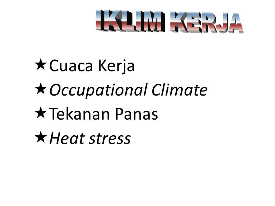 «Cuaca Kerja «Occupational Climate «Tekanan Panas «Heat stress