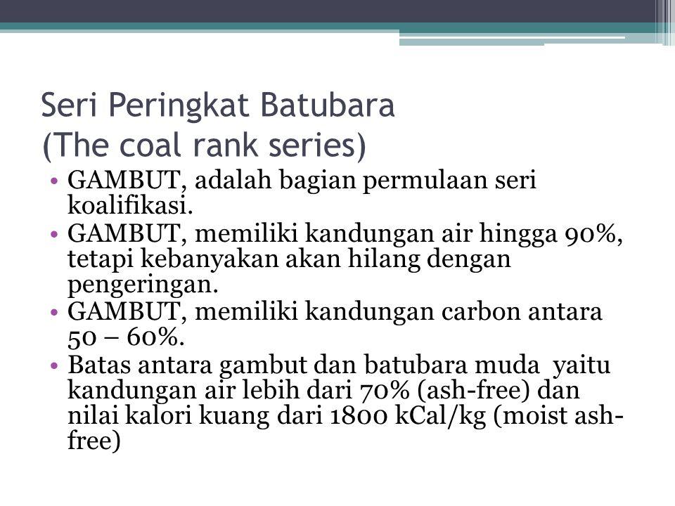 Seri Peringkat Batubara (The coal rank series) GAMBUT, adalah bagian permulaan seri koalifikasi. GAMBUT, memiliki kandungan air hingga 90%, tetapi keb