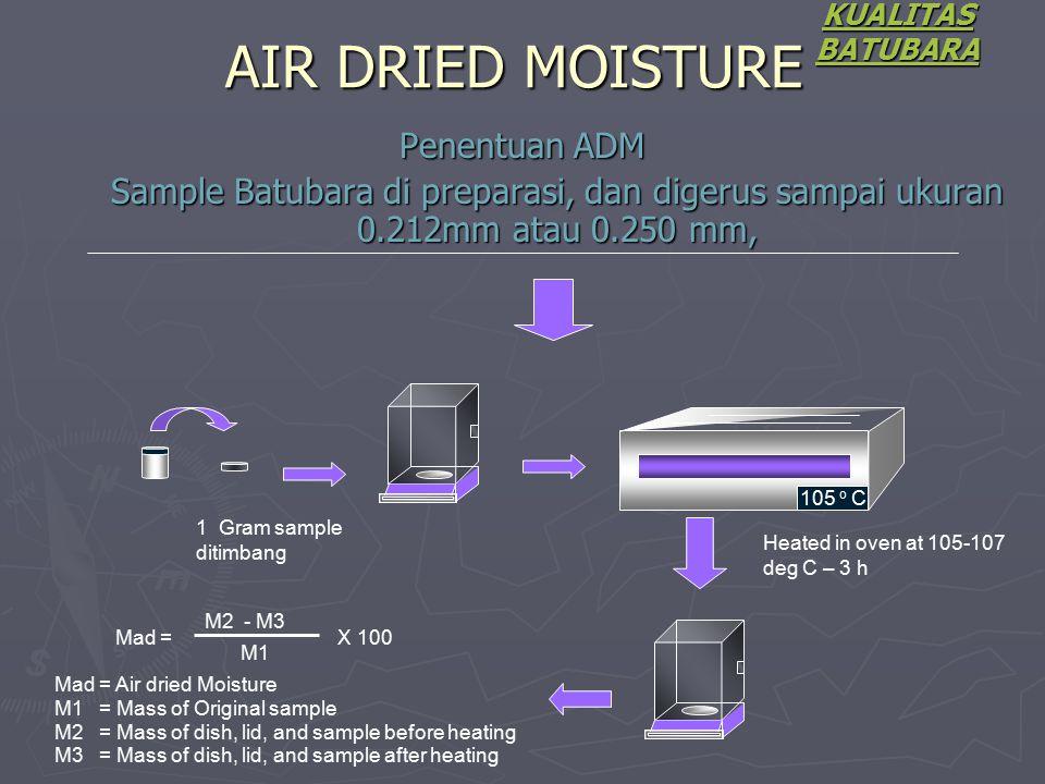 Penentuan ADM Sample Batubara di preparasi, dan digerus sampai ukuran 0.212mm atau 0.250 mm, KUALITAS BATUBARA AIR DRIED MOISTURE 105 o C 1 Gram sampl