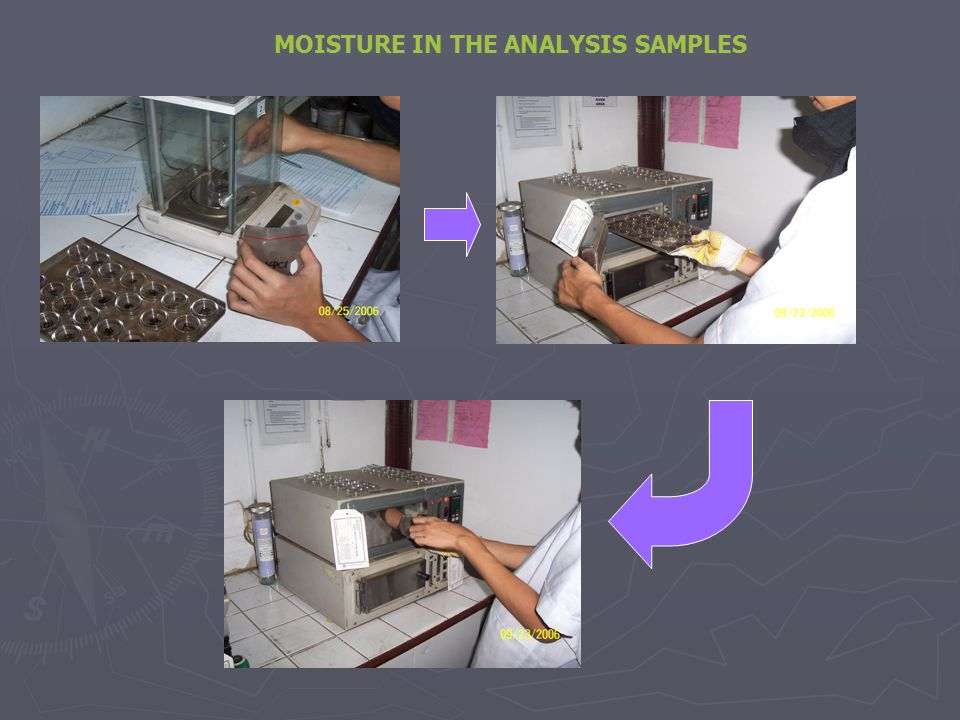 MOISTURE IN THE ANALYSIS SAMPLES