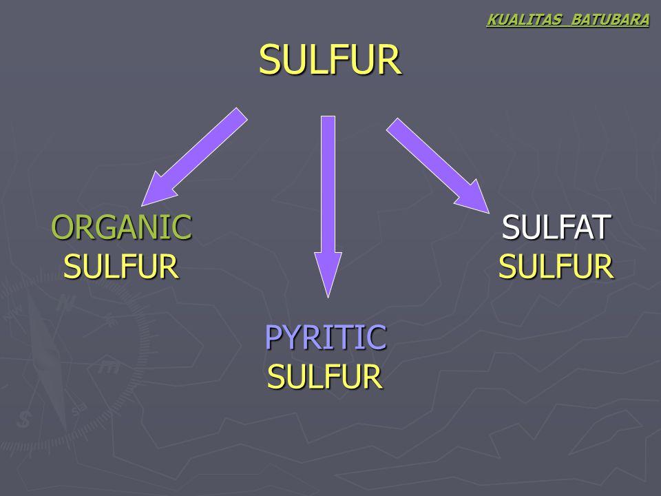 SULFUR KUALITAS BATUBARA ORGANIC SULFUR PYRITIC SULFUR SULFAT SULFUR