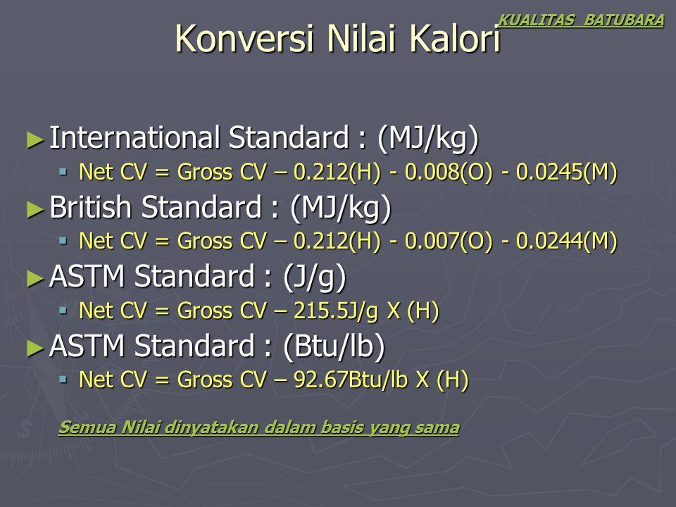 Konversi Nilai Kalori KUALITAS BATUBARA ► International Standard : (MJ/kg)  Net CV = Gross CV – 0.212(H) - 0.008(O) - 0.0245(M) ► British Standard :