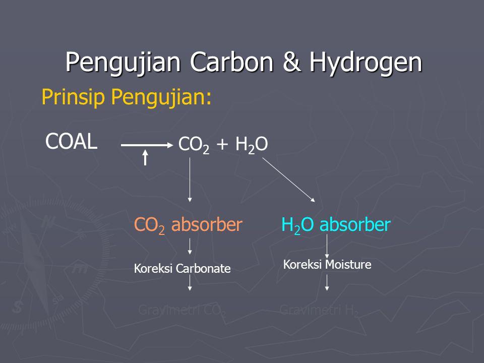 Pengujian Carbon & Hydrogen Prinsip Pengujian: COAL CO 2 + H 2 O CO 2 absorber H 2 O absorber Koreksi Carbonate Koreksi Moisture Gravimetri CO 2 Gravi