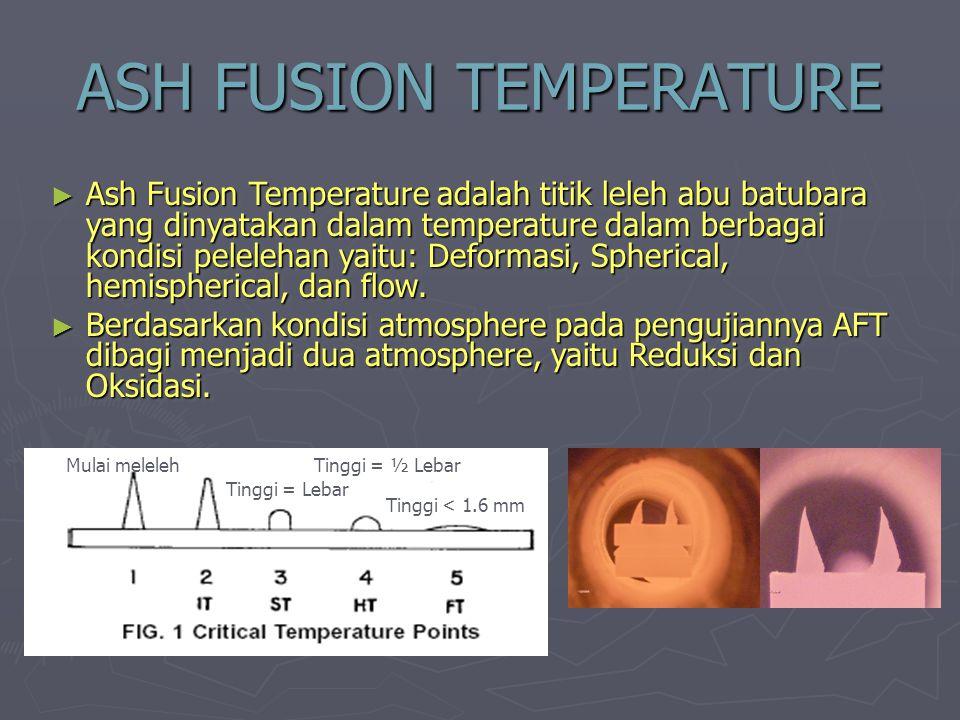 ASH FUSION TEMPERATURE ► Ash Fusion Temperature adalah titik leleh abu batubara yang dinyatakan dalam temperature dalam berbagai kondisi pelelehan yai