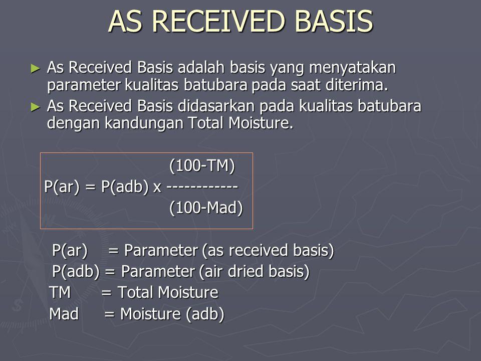 AS RECEIVED BASIS ► As Received Basis adalah basis yang menyatakan parameter kualitas batubara pada saat diterima. ► As Received Basis didasarkan pada