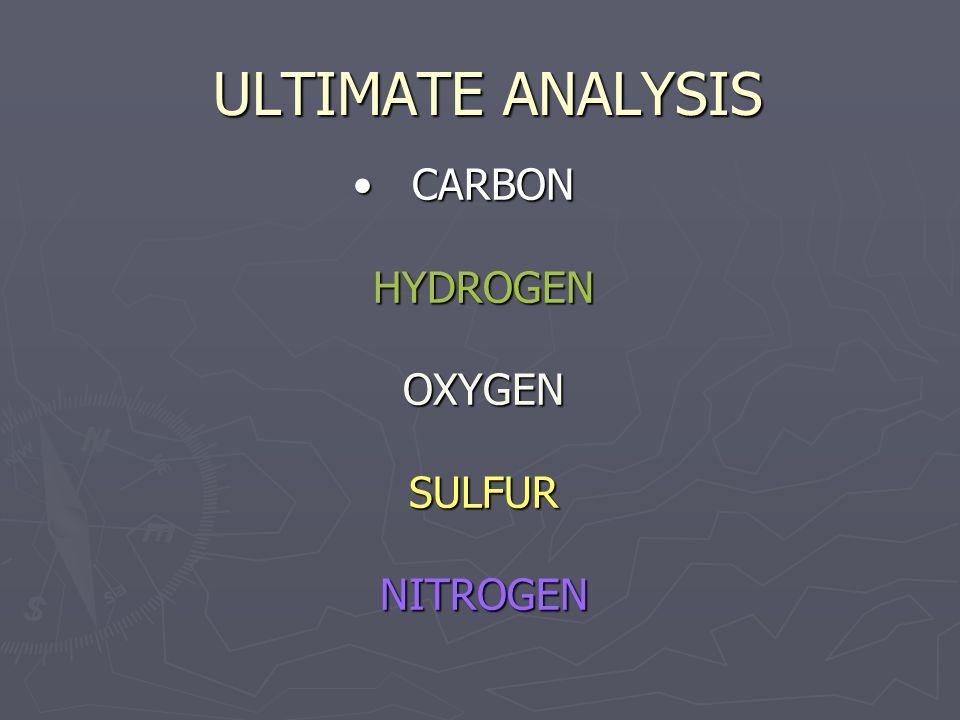 ULTIMATE ANALYSIS CARBON HYDROGEN OXYGEN SULFUR NITROGEN CARBON HYDROGEN OXYGEN SULFUR NITROGEN