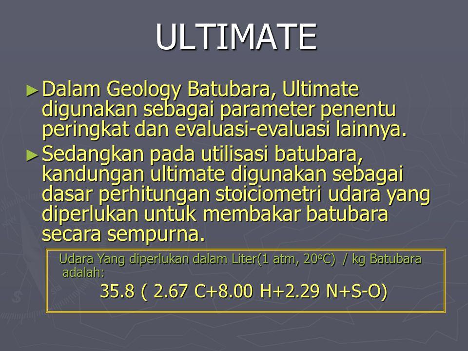 ULTIMATE ► Dalam Geology Batubara, Ultimate digunakan sebagai parameter penentu peringkat dan evaluasi-evaluasi lainnya. ► Sedangkan pada utilisasi ba