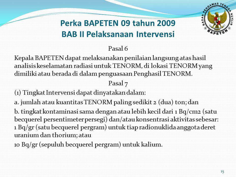 Perka BAPETEN 09 tahun 2009 BAB II Pelaksanaan Intervensi Pasal 6 Kepala BAPETEN dapat melaksanakan penilaian langsung atas hasil analisis keselamatan radiasi untuk TENORM, di lokasi TENORM yang dimiliki atau berada di dalam penguasaan Penghasil TENORM.