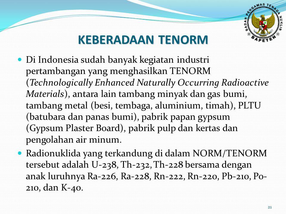 21 Di Indonesia sudah banyak kegiatan industri pertambangan yang menghasilkan TENORM (Technologically Enhanced Naturally Occurring Radioactive Materials), antara lain tambang minyak dan gas bumi, tambang metal (besi, tembaga, aluminium, timah), PLTU (batubara dan panas bumi), pabrik papan gypsum (Gypsum Plaster Board), pabrik pulp dan kertas dan pengolahan air minum.