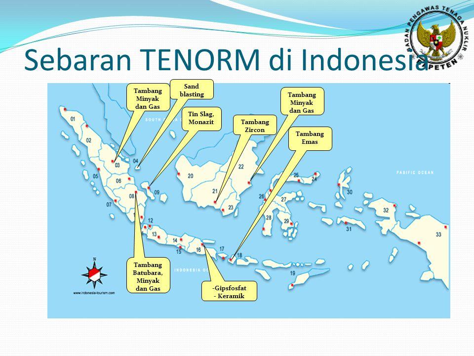 Sebaran TENORM di Indonesia Tin Slag, Monazit Tambang Minyak dan Gas Tambang Zircon Tambang Emas -Gipsfosfat - Keramik Tambang Batubara, Minyak dan Gas Tambang Minyak dan Gas Sand blasting