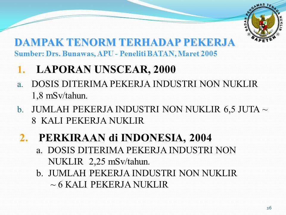 26 DAMPAK TENORM TERHADAP PEKERJA DAMPAK TENORM TERHADAP PEKERJA Sumber: Drs. Bunawas, APU - Peneliti BATAN, Maret 2005 1. LAPORAN UNSCEAR, 2000 a. DO