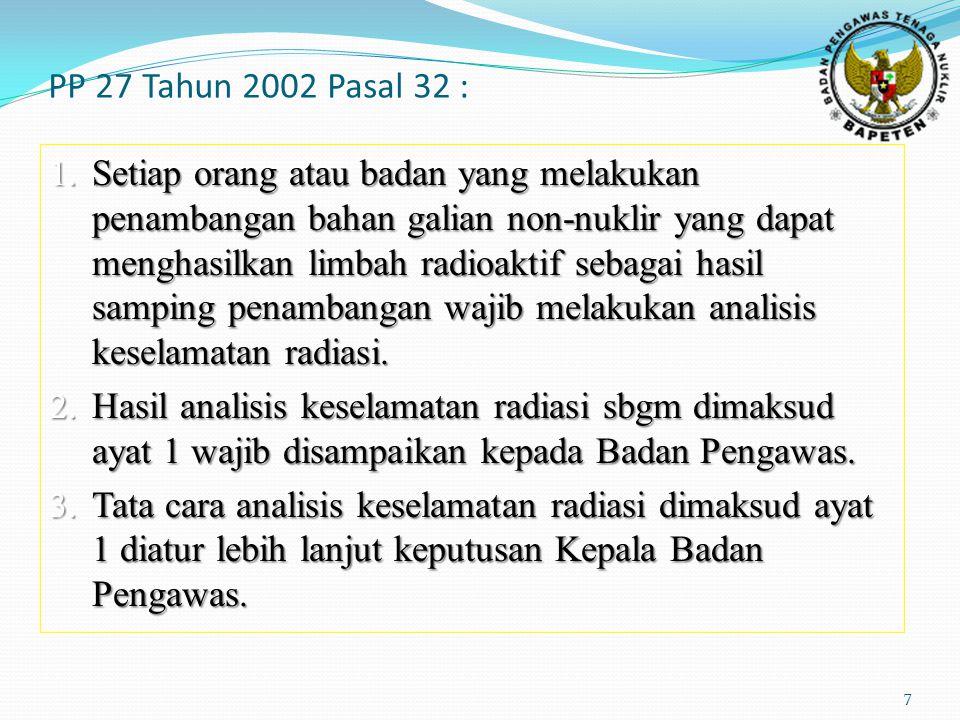 PP 27 Tahun 2002 Pasal 32 : 7 1. Setiap orang atau badan yang melakukan penambangan bahan galian non-nuklir yang dapat menghasilkan limbah radioaktif