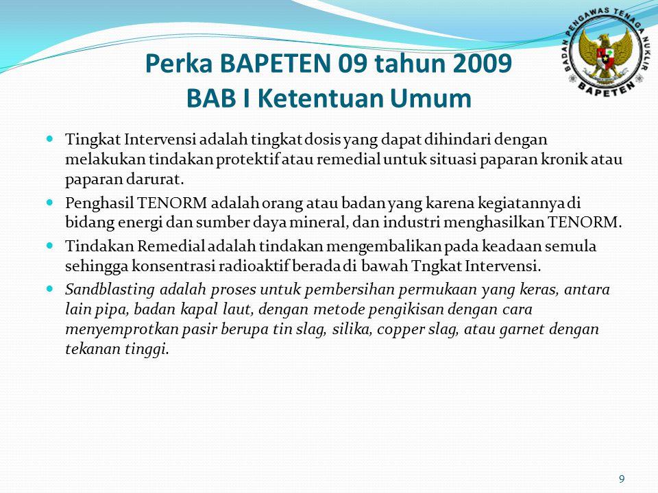 Perka BAPETEN 09 tahun 2009 BAB I Ketentuan Umum Tingkat Intervensi adalah tingkat dosis yang dapat dihindari dengan melakukan tindakan protektif atau
