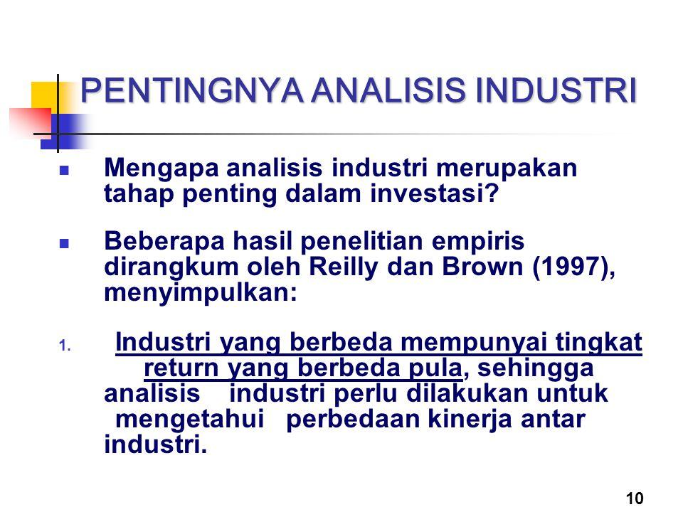 10 PENTINGNYA ANALISIS INDUSTRI Mengapa analisis industri merupakan tahap penting dalam investasi? Beberapa hasil penelitian empiris dirangkum oleh Re