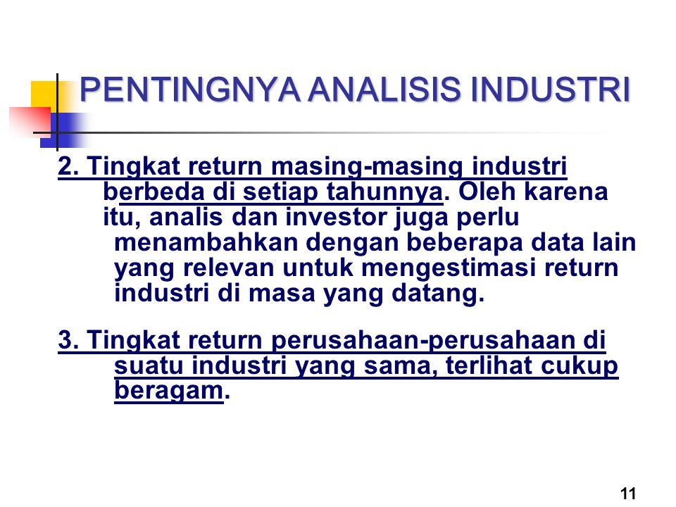 11 PENTINGNYA ANALISIS INDUSTRI 2. Tingkat return masing-masing industri berbeda di setiap tahunnya. Oleh karena itu, analis dan investor juga perlu m