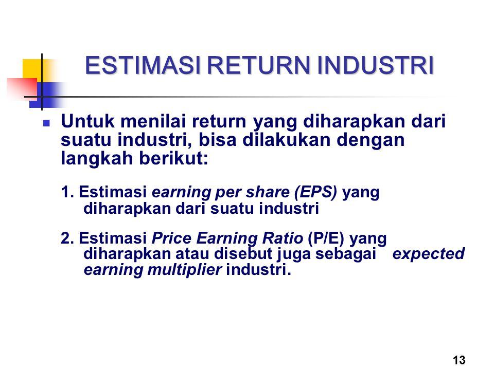 13 ESTIMASI RETURN INDUSTRI Untuk menilai return yang diharapkan dari suatu industri, bisa dilakukan dengan langkah berikut: 1. Estimasi earning per s
