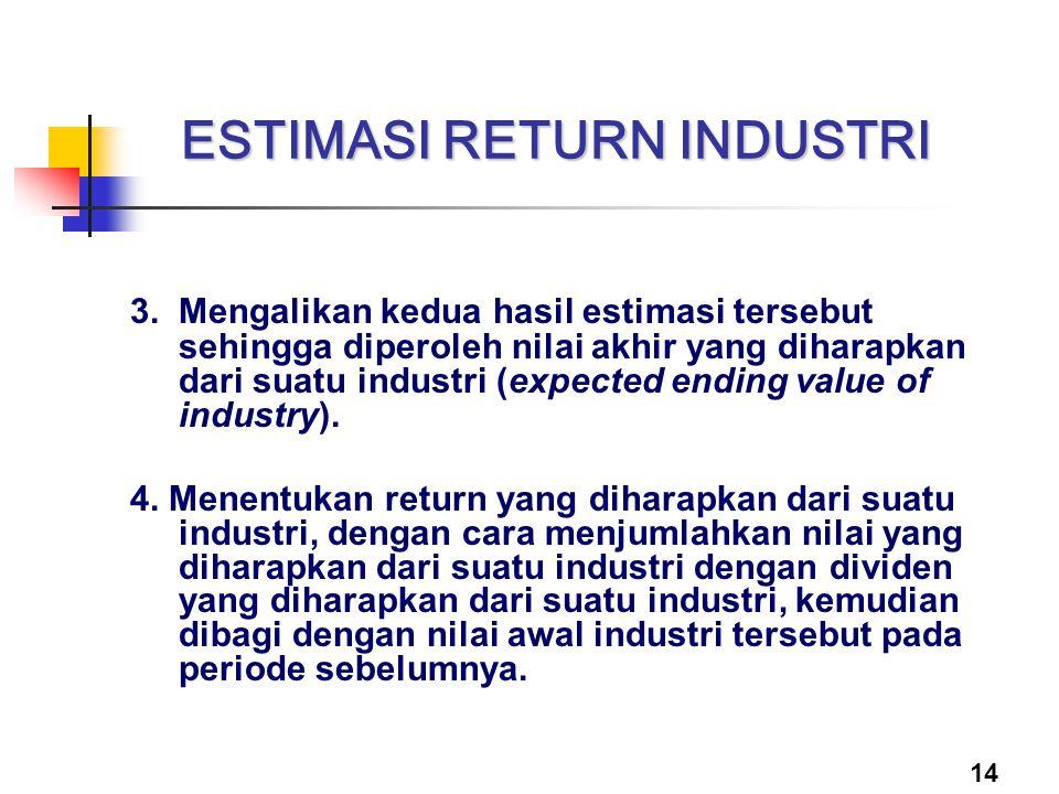14 ESTIMASI RETURN INDUSTRI 3. Mengalikan kedua hasil estimasi tersebut sehingga diperoleh nilai akhir yang diharapkan dari suatu industri (expected e